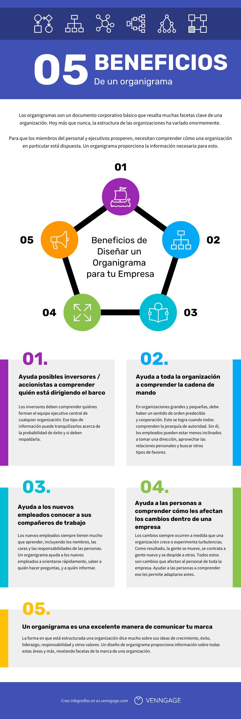 Infografia de organigramas de una empresa